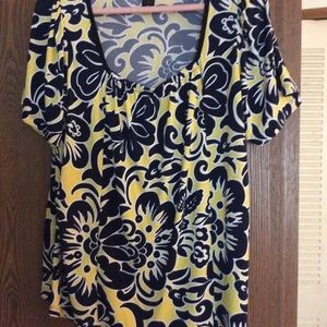 Inc. yellow and navy top Size 1X